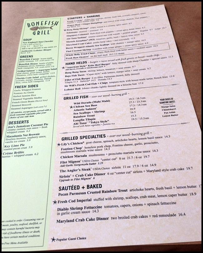 Bonefish grill cranston rhode island gay travel for Fish bone grill menu